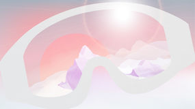 Ski Goggles Reflecting the Winter Mountains on Blurred vector illustration
