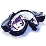 Ski goggles with reflection of mountains Stock Photos