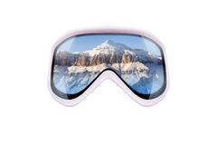 Ski goggles with reflection of mountains Royalty Free Stock Photography