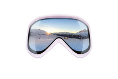 Ski goggles with reflection of mountains Stock Image