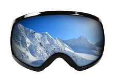 Ski goggles with reflection of mountains isolated on white Stock Photo