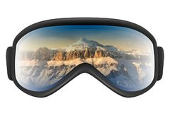 Ski goggles with reflection of mountains. Isolated on the white background. Realistic 3D illustration Stock Photos