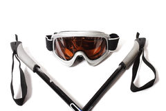 Ski goggles and stick on white background Stock Image