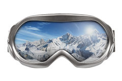 Ski Goggles With Reflection Of Mountains Royalty Free Stock Photos
