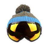 Ski goggles and woolen hat isolated on white Stock Photos