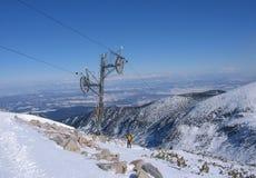 Ski Gondola. Ski lift in Balkans on mountain Rila, Bulgaria Royalty Free Stock Photography