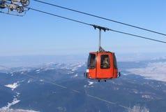On the ski gondola. Ski gondola on Rila mountain, Borovetz, Bulgaria Stock Photo