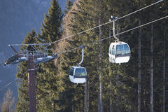 Ski gondola in Italian Dolomites Stock Photo