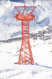 Ski gondola pylon in Lech - Zurs ski resort in Austria Royalty Free Stock Images