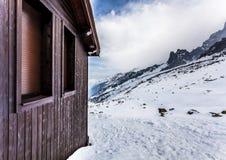 Ski-Hütte, Plan de Aguille, Mont Blanc Stockfoto