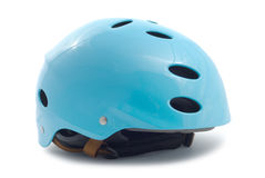 Ski Helmet. Blue ski helmet isolated over white background with clipping path Stock Photography