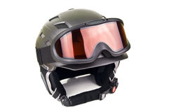 Ski helmet. Black ski helmet and goggles on white Royalty Free Stock Images