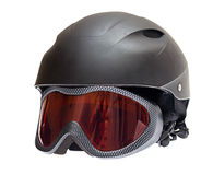 Ski helmet with goggles Stock Photo