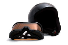 Ski helmet and goggles Stock Photo
