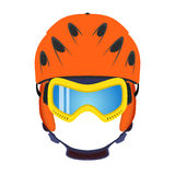 Ski helmet, snowboard glasses, goggles in flat style. Extreme sports. Royalty Free Stock Photography