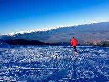 Ski  on high mountain. Man on ski Royalty Free Stock Photos