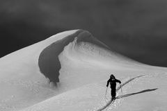 Ski hiking in deep powder snow Royalty Free Stock Photos