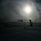 Ski hiking in swiss alps in sun Royalty Free Stock Photography