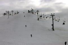 Ski hill. Overview of downhill ski slopes Stock Photo
