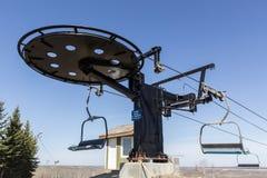 Ski hill lift machine Stock Images