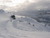 Ski hill in Norway. Alpine skiing hill in the norwegian mountains Royalty Free Stock Photo