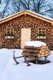 Ski Hut In Winter Stock Images