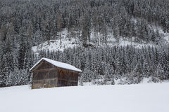 Ski hut in the snowy Austrian Alps Stock Photo