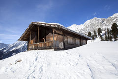 Ski hut in the snowy Austrian Alps Royalty Free Stock Image
