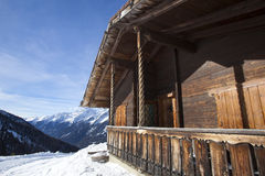 Ski hut in the snowy Austrian Alps Royalty Free Stock Images