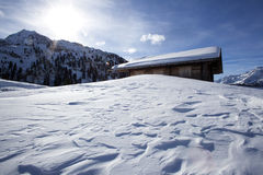 Ski hut in the snowy Austrian Alps Royalty Free Stock Photography