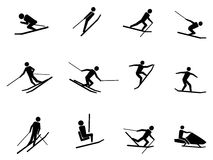 Ski icons set. Isolated black ski icons set from white background Stock Photo