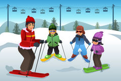 Ski Instructor Teaching Children. A vector illustration of ski instructor teaching children how to ski Royalty Free Stock Images