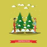 Ski instructor vector illustration in flat style Stock Image