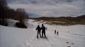Ski with instructor stock video