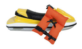 Ski Jet and Life Vest. Sport Ski jet and life vest for having fun on the water safely - path included royalty free stock images