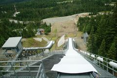 Olympic ski jump, Whistler, Canada. Look from the top of ski jump in Whistler Olympic area Stock Photography