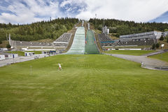 Ski jump. Artificial track. Norwegian summer. Sport background Royalty Free Stock Photography