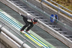 Ski jump. Artificial track. Sport background. Norwegian summer. Royalty Free Stock Images