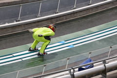 Ski jump. Artificial track. Winter sport. Norwegian summer. Stock Image