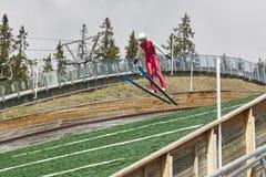 Ski jump. Artificial track. Winter sport. Norwegian summer. Royalty Free Stock Photos