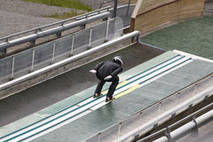 Ski jump. Artificial track. Winter sport. Summer Norway. Horizontal Royalty Free Stock Images