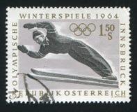 Ski jump. AUSTRIA - CIRCA 1963: stamp printed by Austria, shows Ski jump, circa 1963 Stock Image