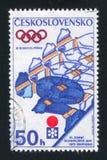 Ski jump. CZECHOSLOVAKIA - CIRCA 1972: stamp printed by Czechoslovakia, shows Ski jump, circa 1972 Stock Photography