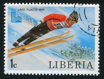 Ski jump. LIBERIA - CIRCA 1980: stamp printed by Liberia, shows Ski jump, circa 1980 Stock Photography