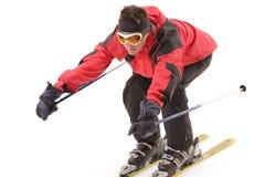 Ski Jump. Man in ski suit isolated on white Stock Photos