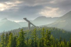 Ski jump in mountains. Royalty Free Stock Images