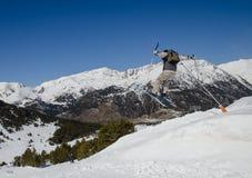 Ski jump in Pas de la Casa, Grandvalira, Andorra. Extrema winter sports royalty free stock image