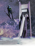 Ski jump. Skier making a jump since a ski jump tower, under the falling snow Royalty Free Stock Photos