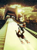 Ski jump. Skier ready to make a jump since a ski jump tower, under the falling snow Stock Photography