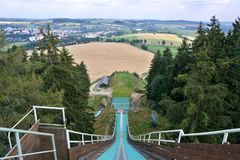 Ski jump tower Stock Photos